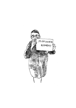"Drawing by David Caines of Elena Marchevska holding the""Misplaced Women?"" sign at Heathrow Airport London, December 12, 2016. in the frame of Tanja Ostojic´s performance workshop in LADA."